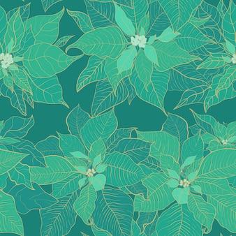 Boże narodzenie poinsecja zielony wzór. zielone liście.