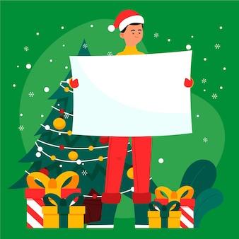 Boże Narodzenie Postać Trzyma Pusty Transparent Darmowych Wektorów
