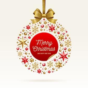 Boże narodzenie pozdrowienie ilustracja. bombka bożonarodzeniowa wykonana z świątecznego dekoru i złotej kokardki.