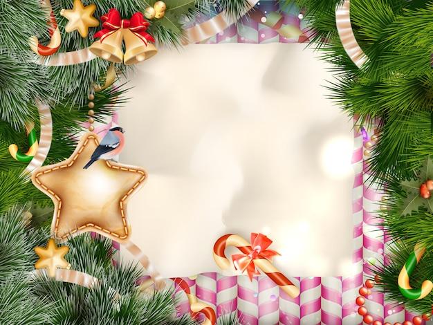 Boże narodzenie pozdrowienie tło światło i płatki śniegu. wesołych świąt życzymy projektowania i dekoracji w stylu vintage. wiadomość szczęśliwego nowego roku.