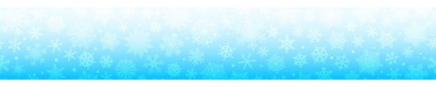 Boże narodzenie poziomy baner dużych i małych złożonych płatków śniegu z bezszwową poziomą powtarzalnością, w jasnoniebieskich kolorach. zimowe tło ze spadającym śniegiem