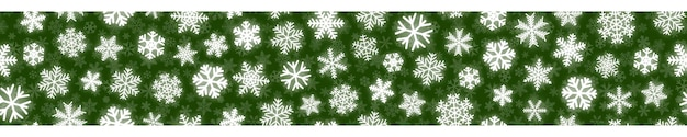Boże narodzenie poziomy bezszwowe sztandar białych płatków śniegu na zielonym tle