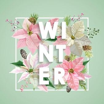 Boże narodzenie projekt zimowe kwiaty z sosnami