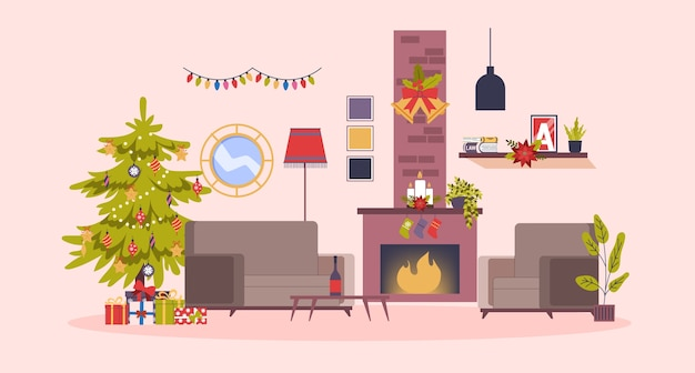 Boże narodzenie przytulne wnętrze salonu z choinką i pudełkami na prezenty. śliczna dekoracja i kominek. meble drewniane. ilustracja