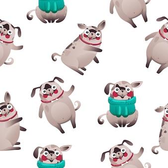 Boże narodzenie psy tapeta, słodkie psy postaci, wektor eps 10