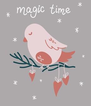 Boże narodzenie ptak siedzi na gałęzi. magiczny czas. szablon kartki świątecznej na boże narodzenie projekt z ptakiem i napisem. zimowe wakacje symbol. ilustracja kreskówka rysować ręka wektor.