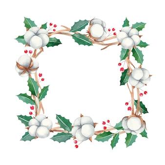 Boże narodzenie rama z czerwonymi jagodami i bawełnianymi kwiatami, rama farby akwarelowe nowy rok
