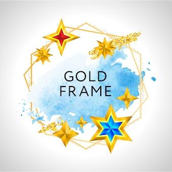 Boże narodzenie rama z niebieskimi akwarela złote gwiazdy