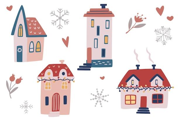 Boże narodzenie ręcznie rysować domy. zestaw rustykalnych domów zimą. idealny do projektowania, kart, plakatów, banerów. wektor ilustracja kreskówka wakacje elementy.
