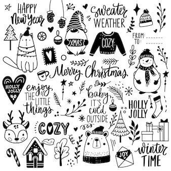 Boże narodzenie ręcznie rysowane doodle ilustracja. boże narodzenie, szczęśliwego nowego roku w stylu szkicu. bałwan, słodki miś, gnom, brzydki sweter, kot, napis. ozdoba na ferie zimowe.