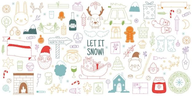 Boże narodzenie ręcznie rysowane gryzmoły. śliczne zimowe święta elementy świąteczne, choinka, renifer i zestaw ilustracji wektorowych świętego mikołaja. ręcznie rysowane gryzmoły świąteczne