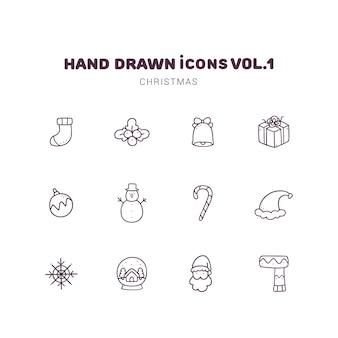 Boże narodzenie ręcznie rysowane ikony konspektu