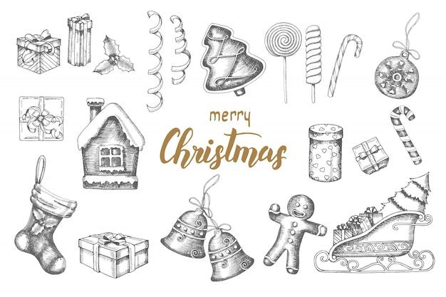 Boże narodzenie ręcznie rysowane obiekty doodle zestaw. pierniki, lizaki, prezenty, dzwonki, serpentyna, sanie świętego mikołaja, skarpeta