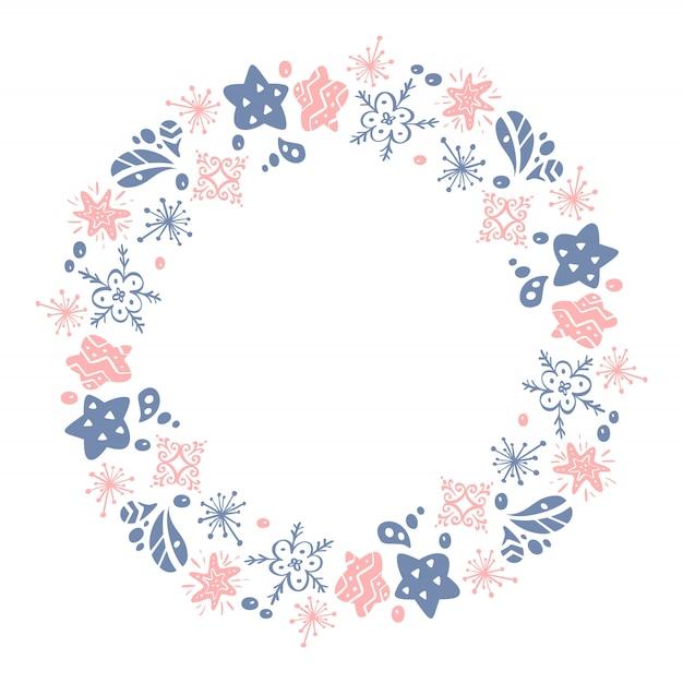 Boże narodzenie ręcznie rysowane różowy wieniec i niebieski kwiatowy elementy projektu zima na białym tle