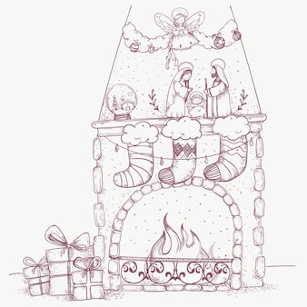 Boże narodzenie ręcznie rysowane sceny kominek
