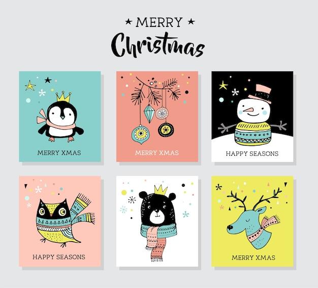 Boże narodzenie ręcznie rysowane słodkie gryzmoły, ilustracje i kartki z życzeniami z pingwinem, niedźwiedziem, jeleniem