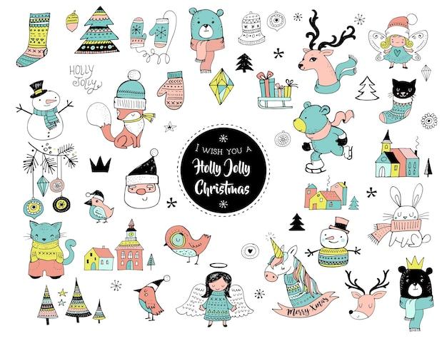 Boże narodzenie ręcznie rysowane słodkie gryzmoły, naklejki, ilustracje i elementy