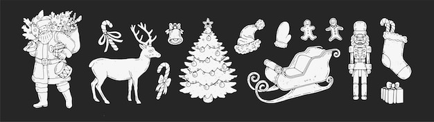 Boże narodzenie ręcznie rysowane weterynarz. świąteczne elementy świąteczne na białym tle ręcznie rysowane clipartów świąteczny motyw. sanki, jelenie, mikołaj, prezenty i nie tylko. na projekty graficzne i uroczystości.