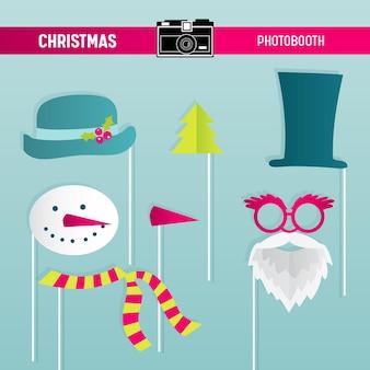 Boże narodzenie retro party zestaw okularów, kapeluszy, wąsów, brody, masek do rekwizytów fotobudki w wektorze