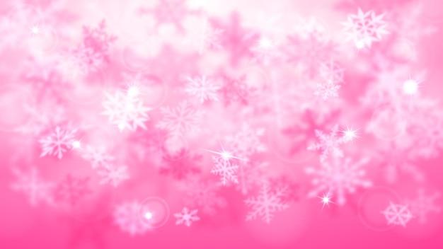 Boże narodzenie rozmyte tło złożonych nieostrych dużych i małych spadających płatków śniegu w różowych kolorach z efektem bokeh