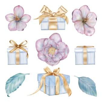 Boże narodzenie różowe kwiaty i pudełka na prezenty