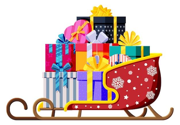 Boże narodzenie sanie świętego mikołaja z pudełkami na prezenty z kokardkami. prezenty świąteczne w saniach. szczęśliwego nowego roku ozdoba. wesołych świąt bożego narodzenia. obchody nowego roku i bożego narodzenia. płaska ilustracja wektorowa