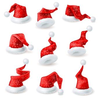 Boże narodzenie santa kapelusze zestaw dekoracji płatka śniegu