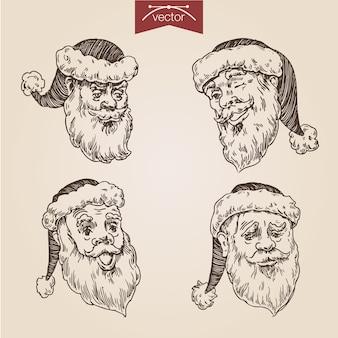 Boże narodzenie santa zestaw ręcznie rysowane grawerowanie