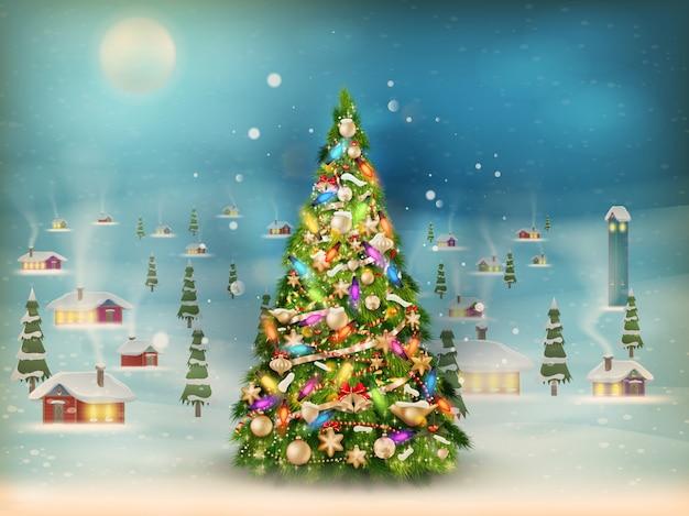 Boże narodzenie sceny, opady śniegu pokryte małą wioską z drzewem.