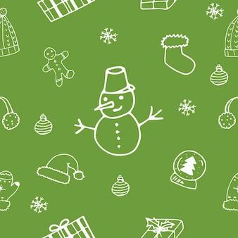Boże narodzenie sezon wektor wzór. ręcznie rysowane elementy świąteczne