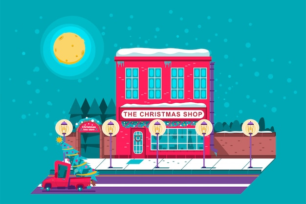 Boże narodzenie sklep i gospodarstwo drzewo sklep kreskówka wakacje ilustracja.
