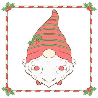 Boże narodzenie słodkie krasnale rysunek z długim czerwonym jagodowym kapeluszem i ramą cukierków
