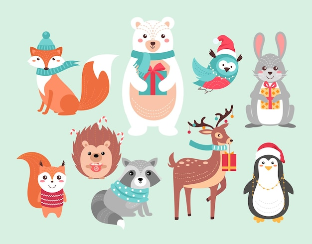 Boże narodzenie słodkie zwierzęta leśne śmieszne leśne świąteczne postacie zwierząt, boże narodzenie ręcznie rysowane tła