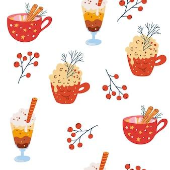 Boże narodzenie słodycze wzór. babeczka, kawa, cynamon, bita śmietana. ręcznie rysować kubki z zimowymi napojami wakacyjnymi. projekt szczęśliwego nowego roku. tło wektor kreskówka.