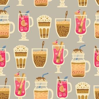 Boże narodzenie słodycze wzór z zimowe gorące napoje, pianki, mleko, kawa i grzane wino. wakacje jesienno-zimowe. tapeta, druk, opakowania, papier, projektowanie tekstyliów. jeden z 20