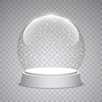 Boże narodzenie śnieżna kula ziemska na przezroczystym tle. szklana kula. ilustracja.