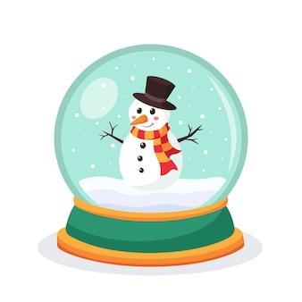 Boże narodzenie śnieżna kula ziemska z bałwanem w środku