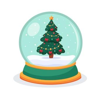 Boże narodzenie śnieżna kula ziemska z jodłą wewnątrz