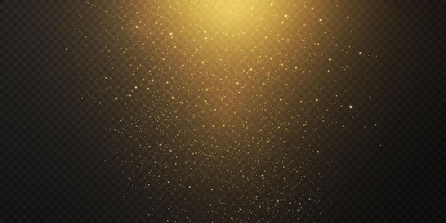 Boże narodzenie spadające złote światła na przezroczystym tle