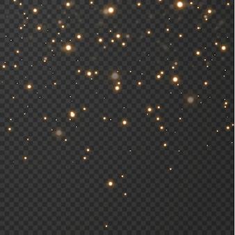 Boże narodzenie świąteczne tło lekkie konfetti i małe błyszczące złote światła. błyszczące złoto tekstury.