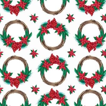 Boże narodzenie świąteczny wzór z wieńcami akwarela ilustracji wektorowych