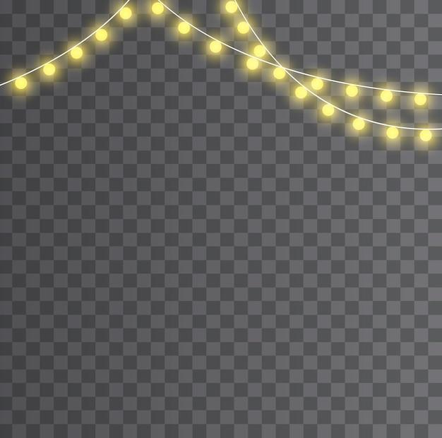 Boże narodzenie światła na białym tle. boże narodzenie świecące światła. ozdoby świąteczne, realistyczne elementy
