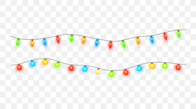 Boże narodzenie światła na białym tle kolorowe xmas girlanda wektor świecące żarówki na drutach