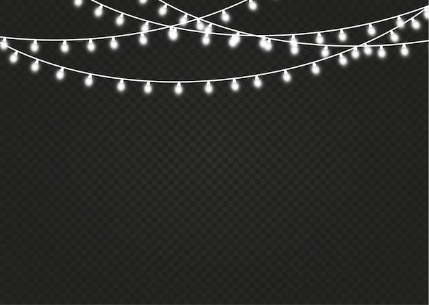 Boże narodzenie światła na białym tle. ozdoby wianek.