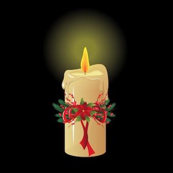 Boże narodzenie świeca na czarnym tle na białym tle.