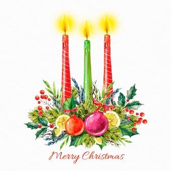 Boże narodzenie świeca tle akwarela
