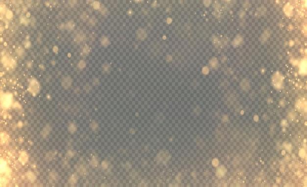 Boże narodzenie świecące jasne złote konfetti bokeh i iskra nakładają złotą teksturę dla twojego projektu!