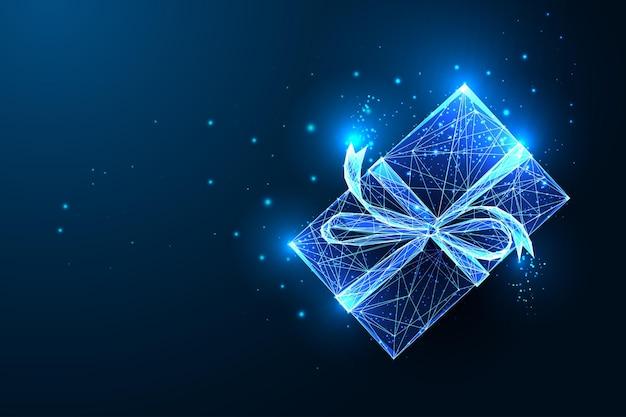 Boże narodzenie świecące pudełko z kokardą wstążki i gwiazd na białym tle na ciemnym niebieskim tle. streszczenie prezent na wakacje. futurystyczny nowoczesny projekt linii neon ilustracji wektorowych.