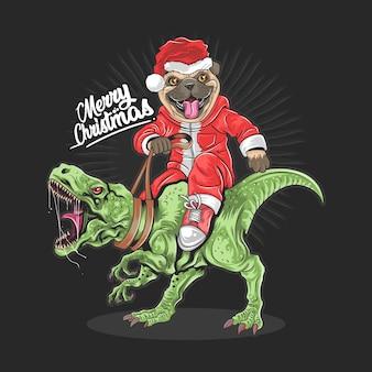 Boże narodzenie święty mikołaj mops jeździ na dinozaurze rex