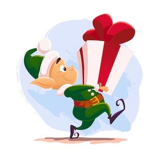 Boże narodzenie święty mikołaj portret postaci elfa. ilustracja stylu kreskówki. szczęśliwego nowego roku, element merry xmas. dobry na kartkę z gratulacjami, ulotkę, plakat.